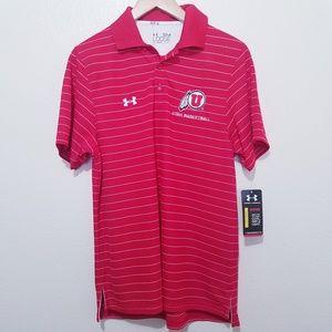 Under armour Utah Utes pin striped Polo small
